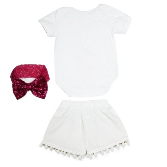 3pcs Infant Baby Girl Soft Cotton Tops Romper + Sequin Pants +Headband Summer Outfits (White+Gold) - intl - 2