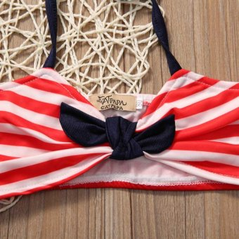 3PCS Summer Kid Girls Clothing Set Baby Bikini Stripe SwimsuitSwimwear Swimming Clothes Beachwear - Red - intl - 4