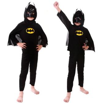 3PCS Top+Pants+Mask Cosplay Batman Halloween Costumes for Kids Boys(Size L Height 125-140CM) - intl - 2