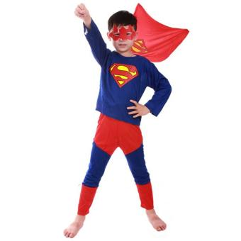 3PCS Top+Pants+Mask Cosplay Superman Halloween Costumes for KidsBoys(Size S Height 90-105CM) - intl