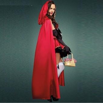 3PCS/Set Cosplay Dress+Cloak+Gloves Little Red Riding Hood Adult Halloween Costume for Women (M Size) - intl - 4