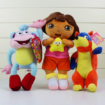 3pcs/set Dora The Explorer Plush Boots Plush Monkey Plush SwiperFox Dora