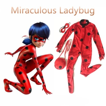 (3PCS/Set Romper +Mask+Bags Kids Size M 125-135CM)Miraculous Ladybug Cosplay Halloween Costumes for Girls - intl