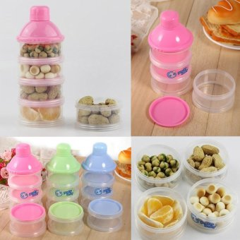 4 Layers Portable Baby Milk Powder Formula Dispenser Food CandyStorage Case (Pink) - intl - 4