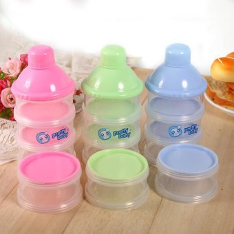 4 Layers Portable Infant Baby Milk Powder Formula Dispenser FeedingCase Box Container Blue .