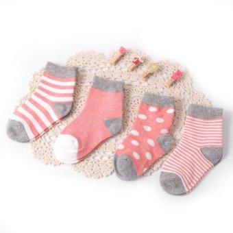 4 Pack Baby Boys Girls Quanlity Anti Slip Socks Infant Boy Girl 0 24 Months (Intl)