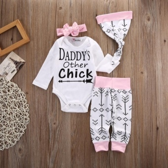 4pcs/ Set Newborn Baby Girls Romper +Long Pants+ Hat+ HeadbandOutfits Set - intl - 4