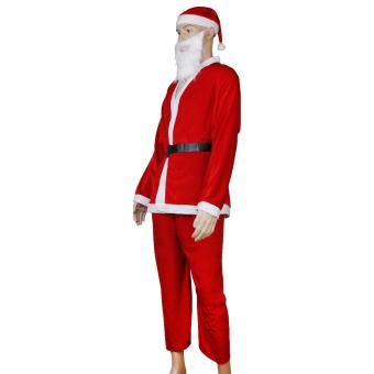 5pcs Adult Men Christmas Santa Claus Costume Suit Outfit One Size - picture 4