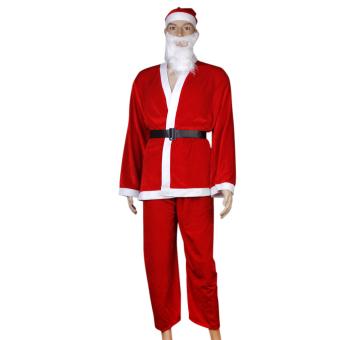 5pcs Adult Men Christmas Santa Claus Costume Suit Outfit One Size - picture 3