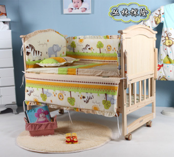 5Pcs baby crib bedding set 100x58cm newborn baby bed set crib bumper (forest)