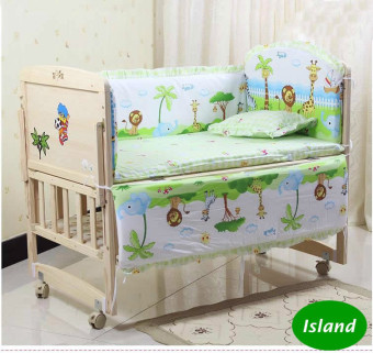 5Pcs baby crib bedding set 100x58cm newborn baby bed set cribbumper (Island)