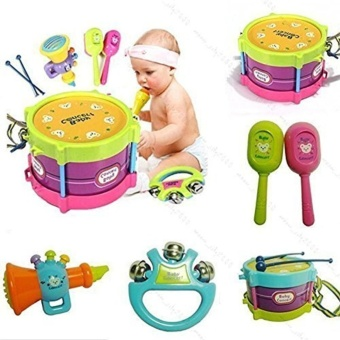 5pcs Novelty Kids Roll Drum Musical Instruments Band Kit ChildrenToy Baby Gift Set by LuckyGirl Store - intl