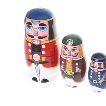 5pcs/ Set Nutcracker Solders Wooden Russian Handmade MatryoshkaNesting Dolls - intl - 4