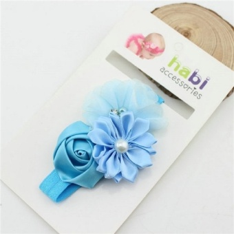 8 Colors Cute Infant Baby Girls Sweet Rose Flowers & Pearl Decor Elastic Headband Hair Band Hair Accessories - intl