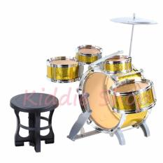 8008E Jazz Drum Set With Chair Musical Toy Instrument For Kids Yellow