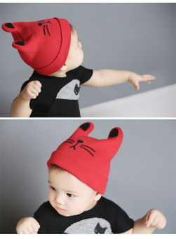 A Baby Infant Head Cap COTTON HAT Warm Hat Children Kitten and WoolHat Knitted Hat - 4