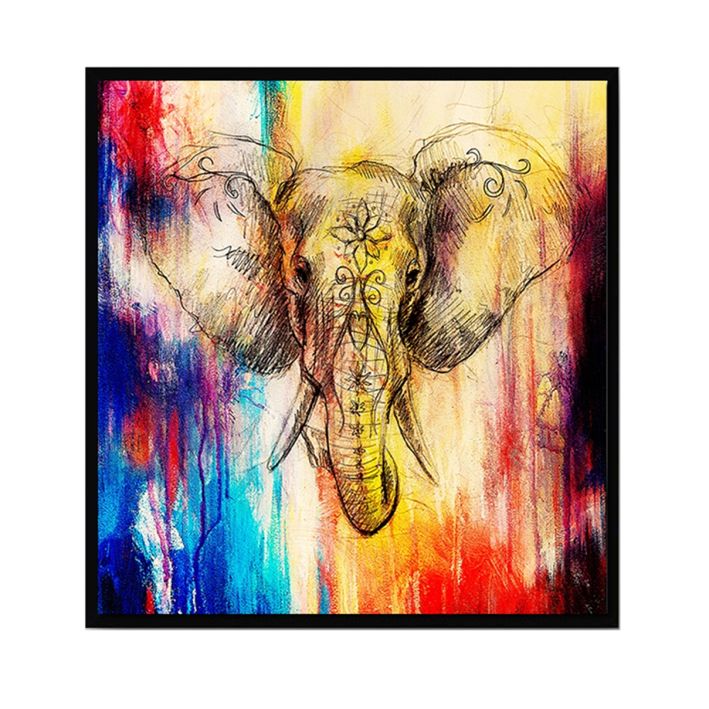 Philippines | Abstract Art Style Elephant Printed Canvas Decoration ...