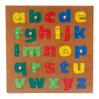 Alphabet Puzzle Lower Case Letters Wooden Toy (Multicolor)