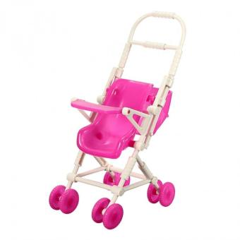 Assembly Baby Stroller Trolley Nursery Furniture Toy for BarbieKelly Doll (Pink) - Intl