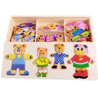 Baby anniversery boy's girl's Development Educational puzzle wooden building blocks
