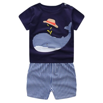 Baby Boy Clothes 2017 Kids Boys Dolphin Short Sleeve T-Shirt+Striped Shorts Tracksuit Outfits for 1-6Years - intl - 2