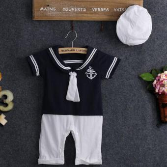Baby Boy Sailor Suit Outfit Top Romper With Hat Blue - intl