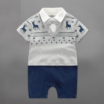 Baby Boys Rompers Children Summer Lucky Deer Gentleman Bow One-piece Tie Boy Suits - intl Price Philippines