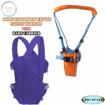 Baby Carrier Sling Wrap Rider Infant Comfort Backpack Dark BlueWith MOBY BABY Moon Walker Safety Harness