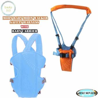 Baby Carrier Sling Wrap Rider Infant Comfort Backpack Light BlueWith MOBY BABY Moon Walker Safety Harness