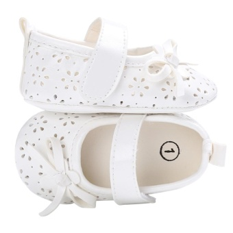 Baby Girl Flat Shoes PU Hollow Newborn Infant Girls AntiskidPrincess Shoes(White)-13CM - intl - 2
