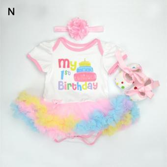 Baby Girl Infant 3pcs Clothing Sets Romper+Headband+Shoes Christmas Suit Princess Tutu Romper Dress/Jumpsuit Xmas Bebe Party Birthday Costumes - intl