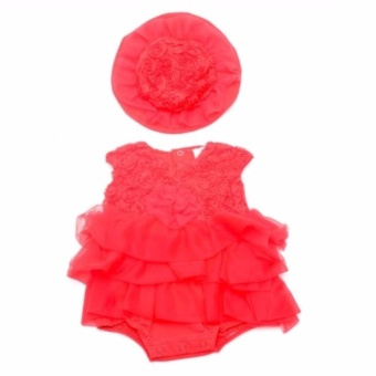 Baby Girl Tutu Dress with Hat (Red) for 3 Months Old
