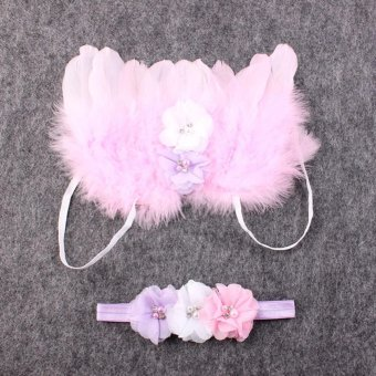 Baby Girls Angel Wings Wing Set Feather Newborn Photography - 4