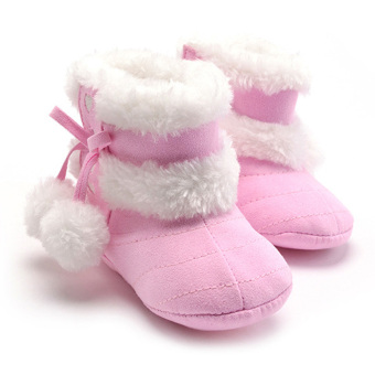 Baby Girls Bowknot Winter Snow Boots (Pink)