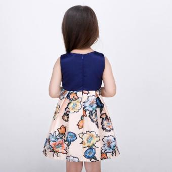 Baby girls fashion summer Floral print dresses girls dresses Festaflower children princess dress - 5