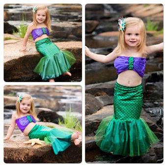 Baby Girls Little Mermaid Costume Dress Swimwear Swimsuit Set - intl - 3