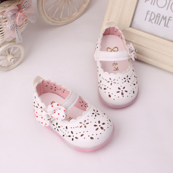 Baby girls Sandals Toddler First Walker Shoes PU Leather Soft-soled Heelpiece Flashing light ( white) - Intl - 2