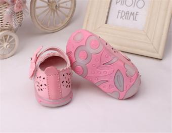 Baby girls Sandals Toddler First Walker Shoes PU Leather Soft-soledHeelpiece Flashing light ( pink) - Intl - 4