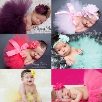 Baby lily 7sets Newborn Baby Infant Costume Hair Band Bowknot TutuSkirts - intl