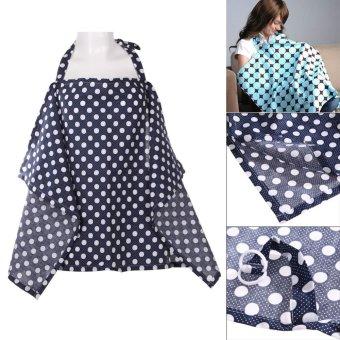 Baby Mum Breastfeeding Nursing Poncho Cover Up Cotton(Dark BlueDots) - 3