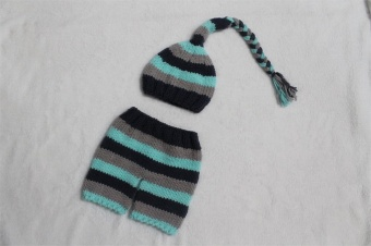 Baby Newborn Photography Props Handmade Knit Crochet Costume Striped Hat And Pants For 0 to 6 Months Girl Boy - intl - 2
