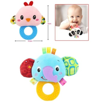 Baby Rattle Hand Bell Toys Plush Owl Elephant Monkey Lion RattleDolls Gifts for Infants Color:Purple - intl - 4