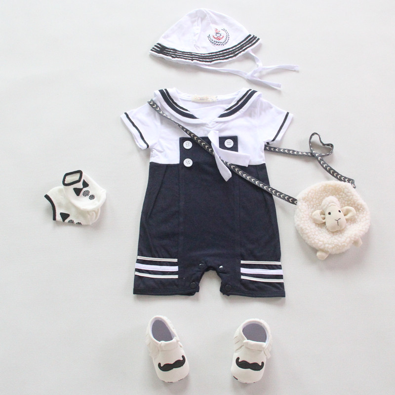 cd81c46b82475 ... Baby Rompers Baby Boy Clothes Sailor Costume Short Sleeve SummerBaby  Jumpsuit + Hat 2 Pcs Casual ...