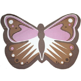 BABY STEPS Butterfly Anti-Slip Safety Bath Mat (Brown/Pink)