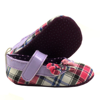 BABY STEPS Checkered With Side Ribbon Baby Girl Sandals (Purple) - picture 2