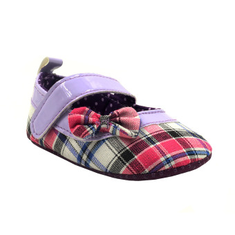 BABY STEPS Checkered With Side Ribbon Baby Girl Sandals (Purple)
