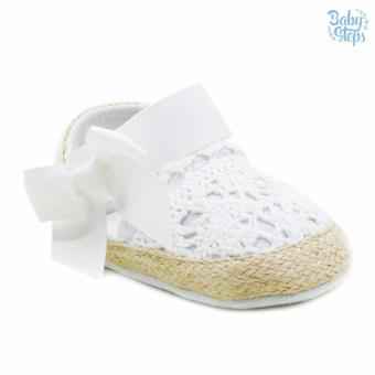 BABY STEPS Knitted Ribbon Baby Girl Shoes (White) - 2
