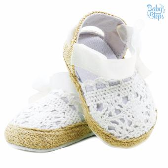 BABY STEPS Knitted Ribbon Baby Girl Shoes (White) - 4