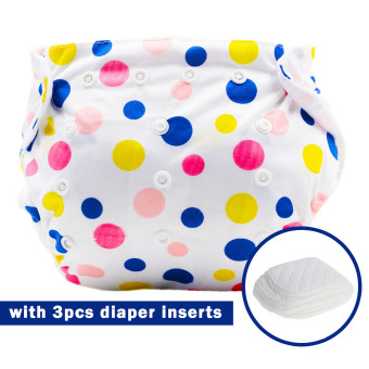 BABY STEPS Polka Charms Baby Diapers with 3pcs Diaper Inserts