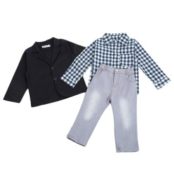Baby Toddler Clothing Sets 3Pcs Casual Turn Down Collar Long SleeveBlazer Plaid Shirt Denim Pants For Boys(As The Picture)(Size:2T) -intl - 3